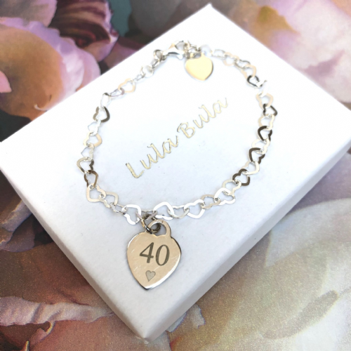 40th birthday  gift bracelet - FREE ENGRAVING